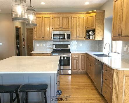 Gray Painted Island with Oak Cabinets - Bing images | Grey ...