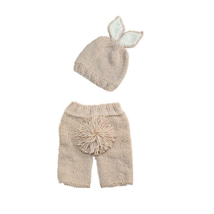 Crochet Baby Costume Set Knit Rabbit Hat Newborn Photography Props Carrot Hat Pants 3 Pieces set. Click visit to buy #BabyGirlClothingSet #BabyGirl #ClothingSet