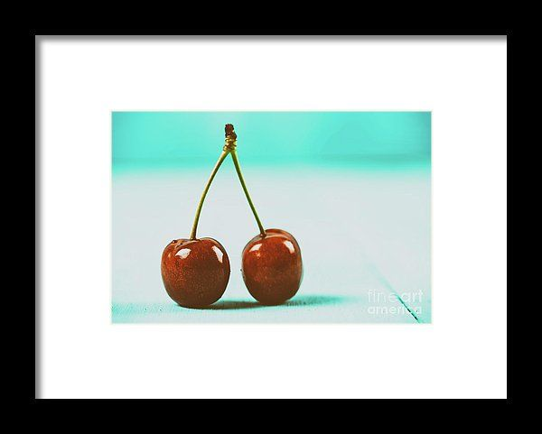Fresh Red Cherry Fruit On Turquoise Background Framed Print