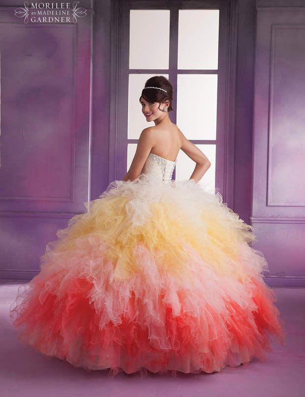 Arc-en-ciel Robe de mariée multicolore, collectionVizcaya, Mori Lee.