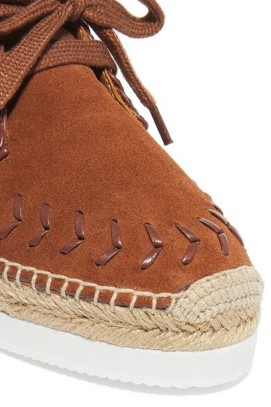 See by Chloé - Leather-trimmed Suede Espadrille Platform Sneakers - Camel