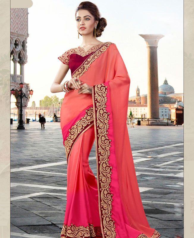 #hey @a1designerwear . Item code: ADF80080 . Buy Enticing Pink Georgette #Saree #onlineshopping with #worldwideshipping at  https://www.a1designerwear.com/enticing-pink-georgette-sarees-12   . #a1designerwear #a1designerwear . #instashop #worldwide #thankyou