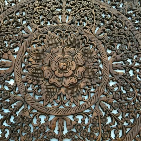 Elegant Wood Carved Wall Plaque. Wood Carved Floral Wall Art. Bali Home  Decor. Asian Wood Carving Wall Art. Decorative Thai Wall Relief Panel  Sculpture.