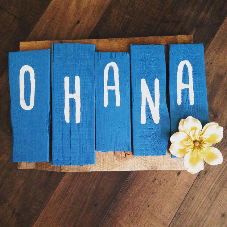 A personal favorite from my Etsy shop https://www.etsy.com/listing/238940663/ohana-means-family-pallet-art-sign