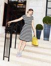black-and-white striped dress