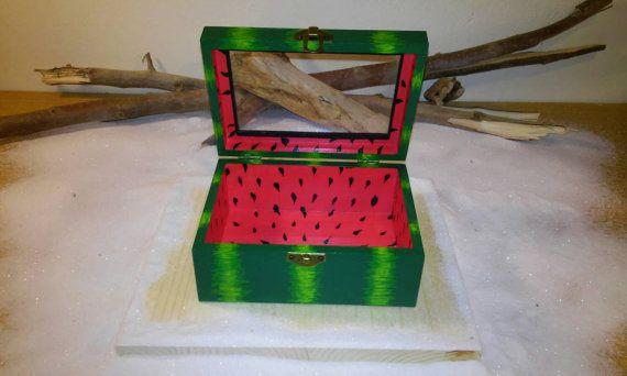 Handmade wooden box Watermelon box Birthday gift by Zozelarium