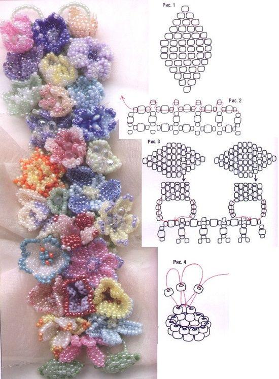 Esquema para la pulsera de flores (y otros 2 pulseras mullidas). Necesidades de traducción. | Craft ~ su ~ ~ ~ su Homecraft Inicio