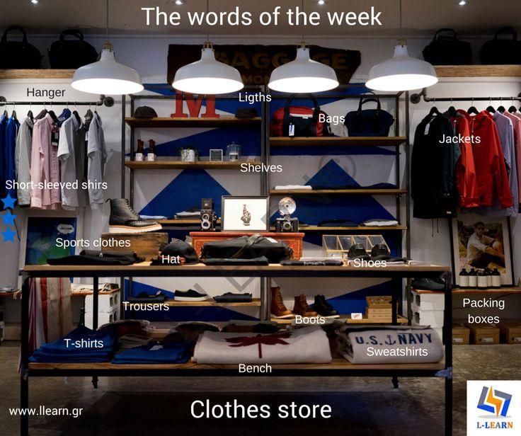 The clothes store. #Αγγλικά #αγγλικές #λέξεις #αγγλική #γλώσσα #λεξιλόγιο #English #english #words #english #language #vocabulary #LLEARN