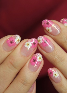 nails, flower, pink