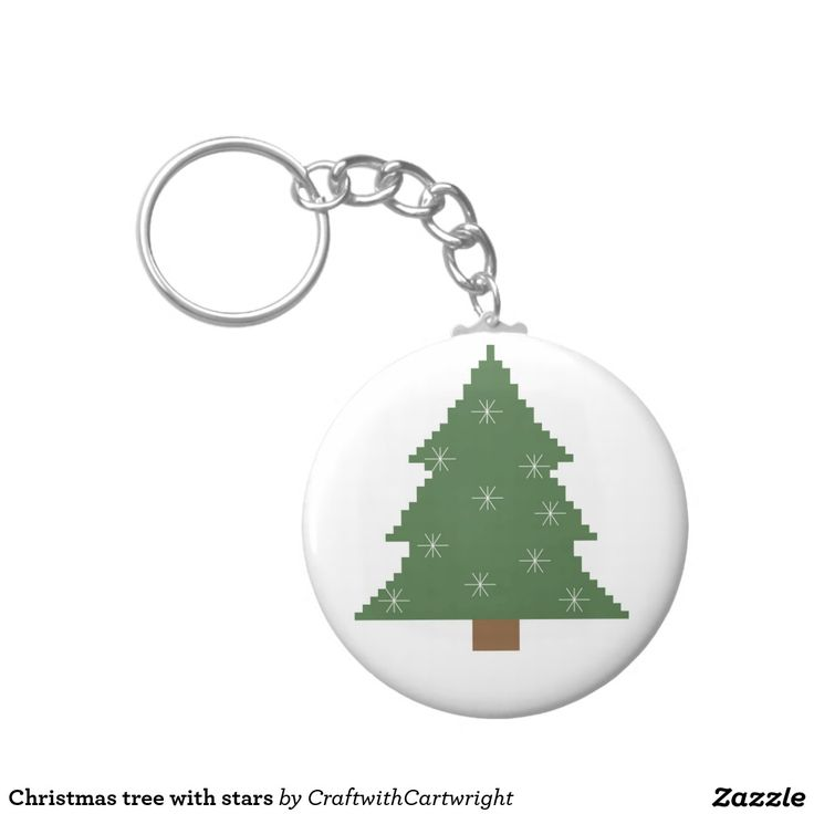 Christmas tree with stars basic round button key ring
