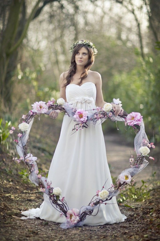Large willow heart decorated with silk roses and peonies