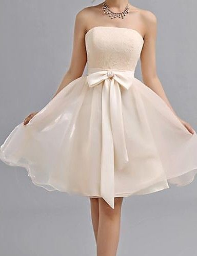 Knee-length Chiffon Bridesmaid Dress - Elegant / Lace-up A-line Sweetheart with…