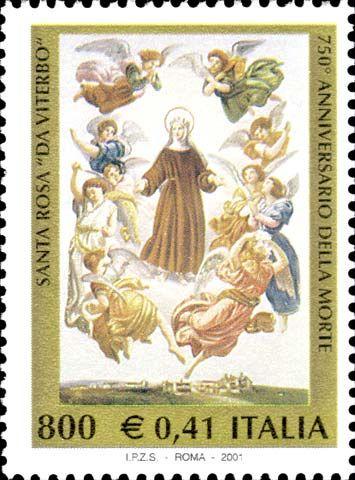 Italy Stamp 2001 - Emesso il 6 marzo 2001 800 L. - 0,41 € - Santa Rosa in un dipinto di Francesco Podesti