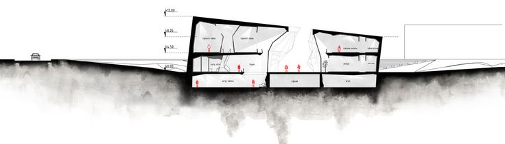 slasharchitects Çanakkale War Research Center 08 #slasharchitects #architecture #competition #researchcenter #concept #section #drawing #presentation