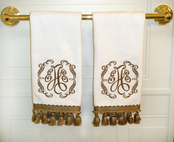Best Monogram It Images On Pinterest Lampshades Aprons And - Monogrammed hand towels for small bathroom ideas