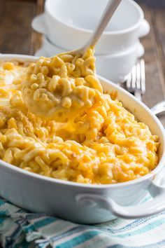 Super Creamy Mac and Cheese with a blend of cheddar, monterey jack, and velveeta.