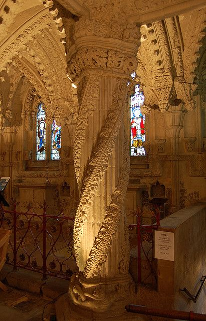The Apprentice Pillar inside Rosslyn Chapel, Scotland