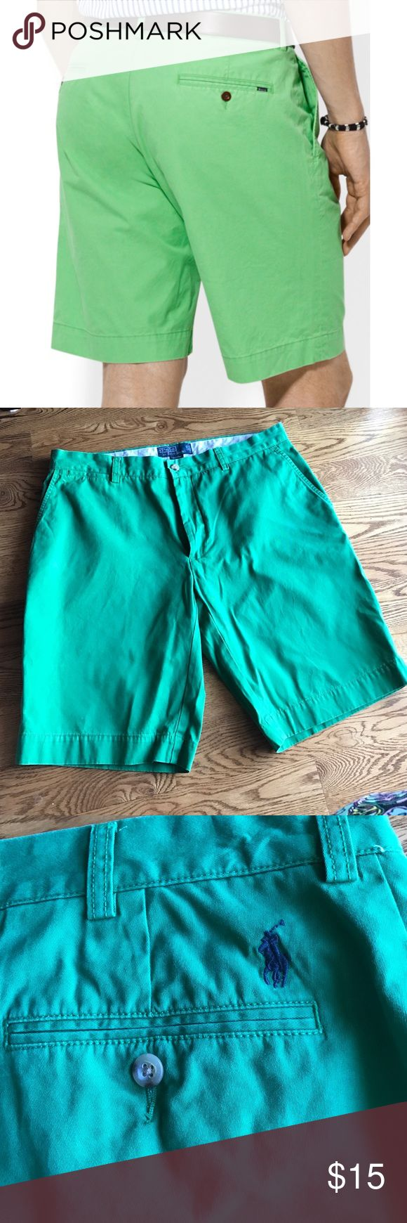 Polo men's dress shorts Excellent condition, Polo by Ralph Lauren beautiful vibrant green men's dress shorts. Worn just a couple of times, size 36. Discounts available if purchased in a bundle. Polo by Ralph Lauren Shorts Flat Front