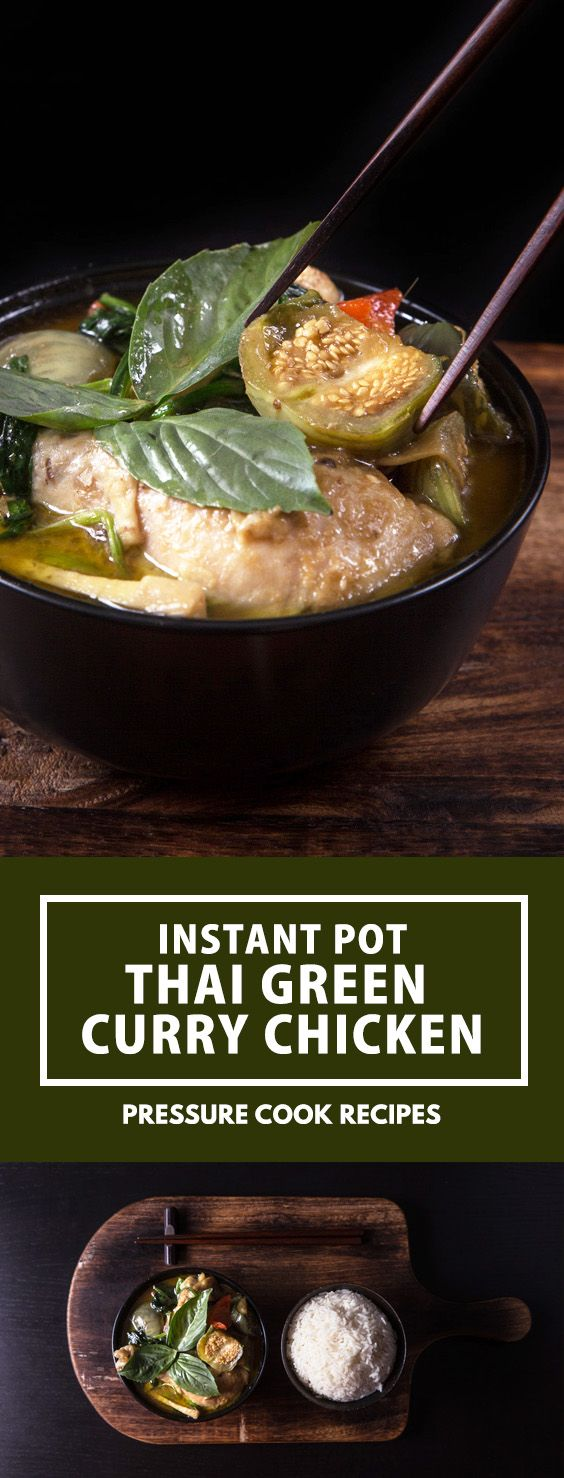 Instant Pot Thai Green Curry Chicken Recipe (Gang Kiew Wan Gai): addictive pressure cooker curry with rich depths of flavors & fragrance. via @pressurecookrec