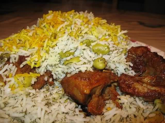baghalipolo mahicheh ( persian food )