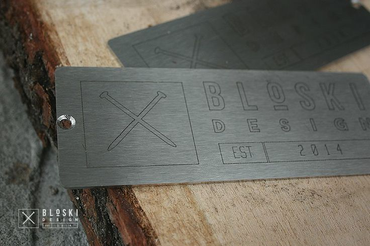logo furniture manufactory Bloski Design engraved on stainless steel