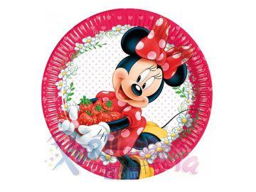 Minnie Mouse Bahçede Doğum Günü Tabağı