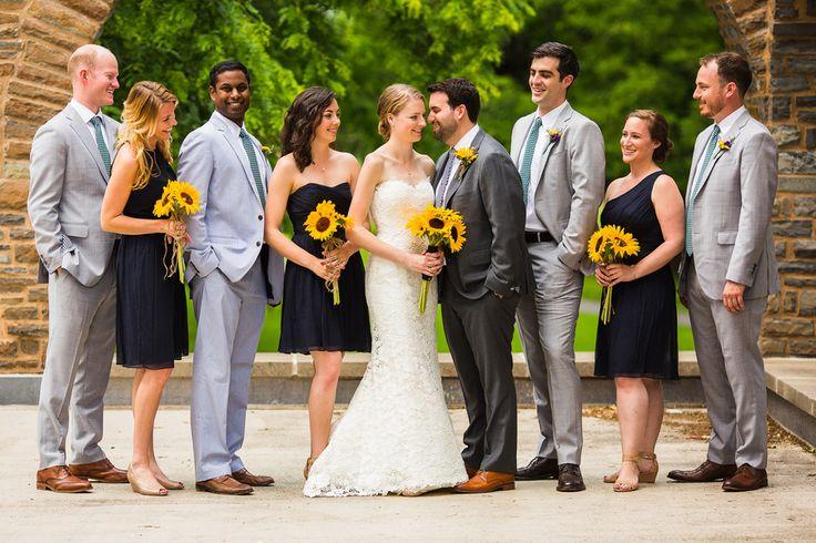Real Bridesmaids Real Dresses Blue Sunflower Wedding