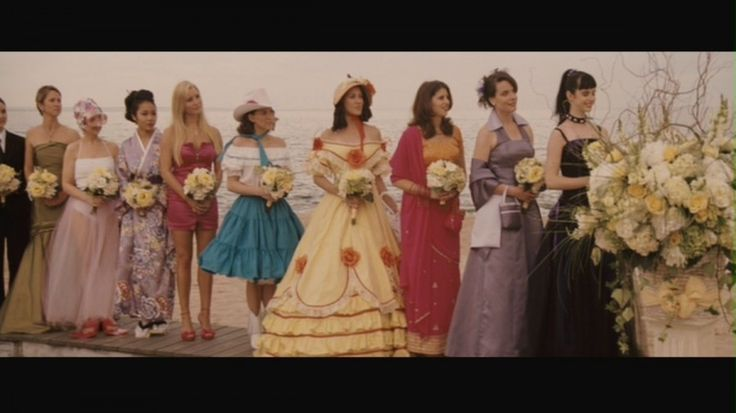 The last 9 bridesmaids dresses in a close up shot.