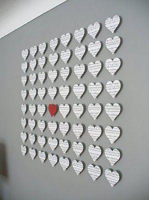 Got any old sheet music around?Wall Art, Valentine Day, Paper Heart, Heart Art, Music Wall, Sheet Music, Diy Wall Decor, Wall Display, Music Sheet