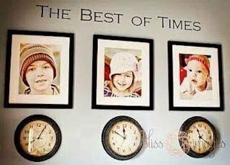 Neat idea, a clock over each picture of each one of your kids stopped at the time they came to this world..
