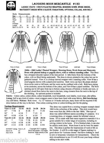 Victorian Wrapper, Morning Gown, Maternity, Work Dress Laughing Moon Pattern 120   eBay