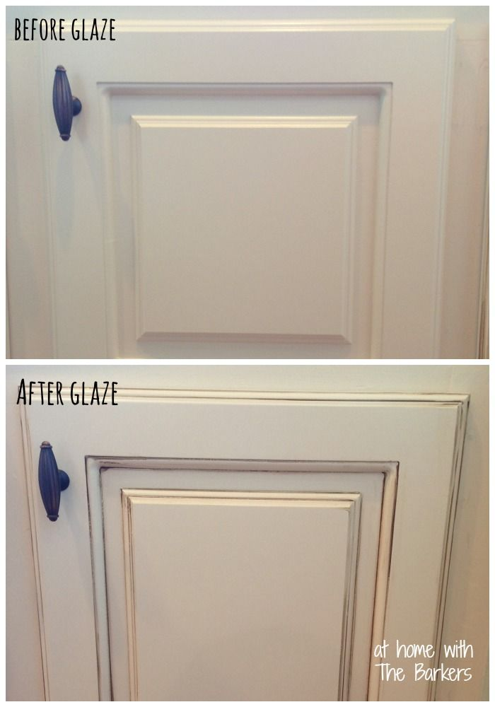 Glazed Kitchen Cabinets, Before and After to show detail! Make such a difference. #kitchendecor
