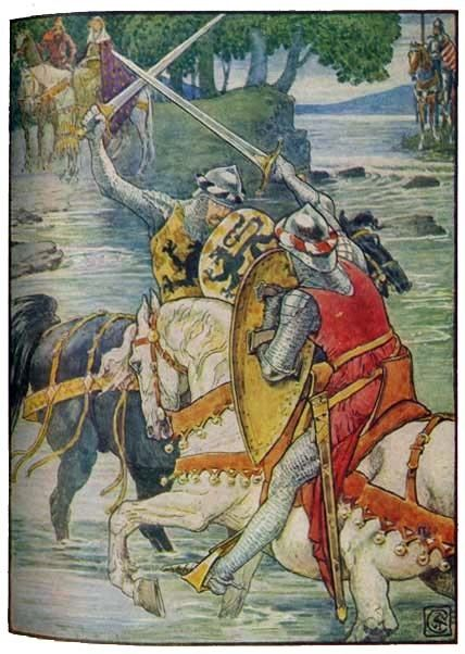 """""""BEAUMAINS WINS THE FIGHT AT THE FORD"""" King Arthur's Knights, by Henry Gilbert, Illustrated by Walter Crane"""