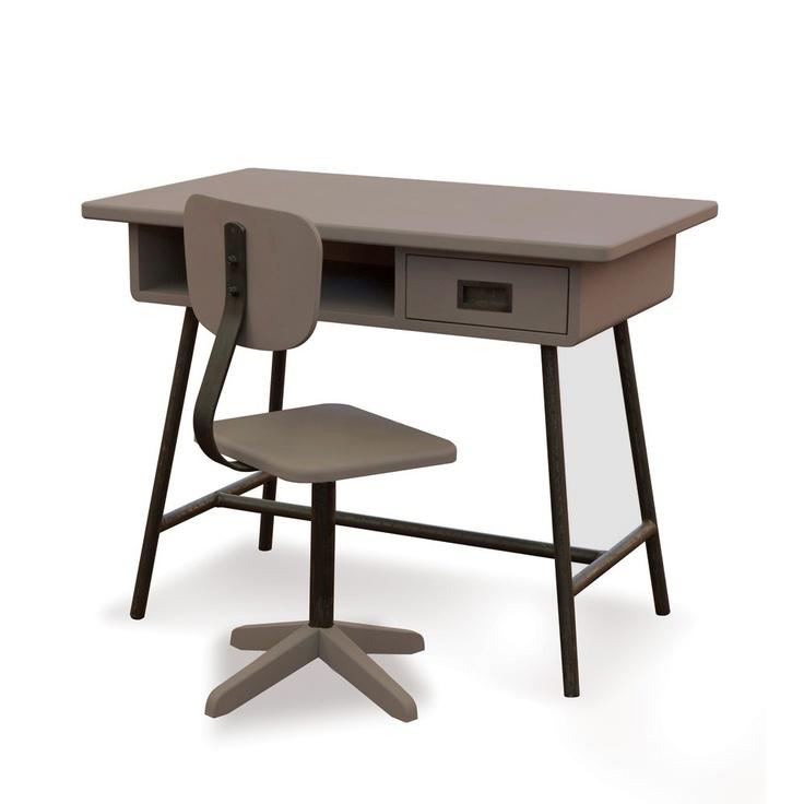 Bureau enfant design la Classe et chaise d'atelier Taupe - Laurette