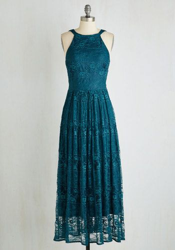 With Style and Lace Dress in Teal by Eva Franco - Green, Solid, Cutout, Wedding, Bridesmaid, Maxi, Sleeveless, Lace, Better, Variation, A-line, Long