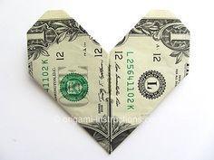 Super Easy Dollar Bill Heart