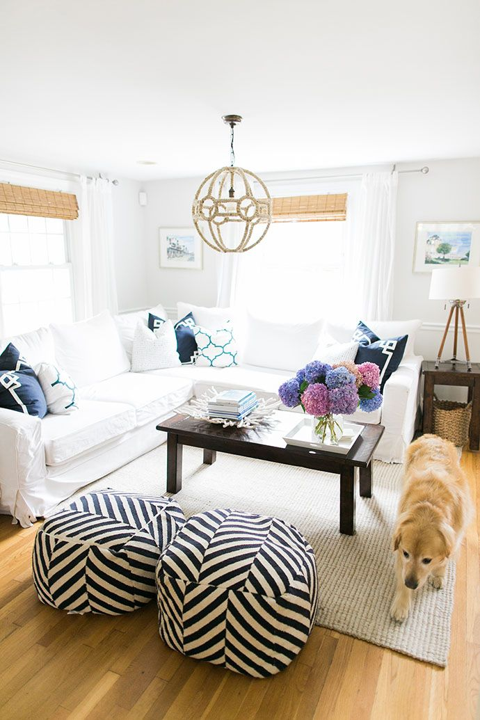 An Editorial Stylist Invites Us Inside Her Beautiful Coastal Home. White  Sectional SofaSmall Living Room SectionalNeutral Living RoomsContemporary  ...
