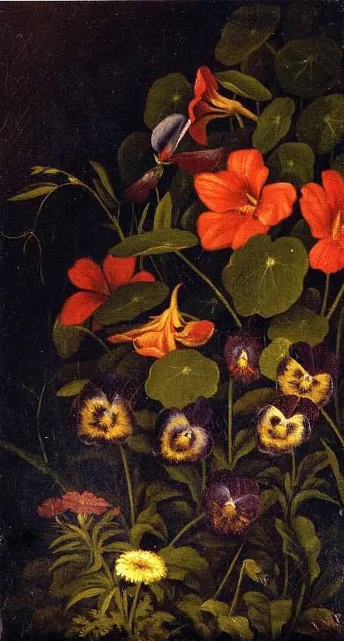 Pansies and Nasturtiums Date unknown by Levi Wells Prentice