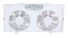 """Optimus - 8"""" Electrically Reversible Twin Window Fan - White"""