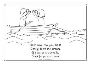 Row Row Row Your Boat colouring sheets SB8331