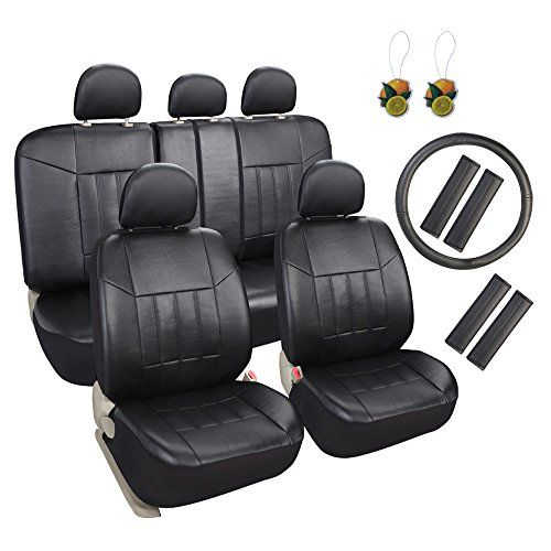 Leader Accessories 17 pcs Universal Fit Interior Decor PU Leather Car Seat Cover Set Black FREE Steering Wheel Cover and Air Fresheners. For product info go to:  https://www.caraccessoriesonlinemarket.com/leader-accessories-17-pcs-universal-fit-interior-decor-pu-leather-car-seat-cover-set-black-free-steering-wheel-cover-and-air-fresheners/