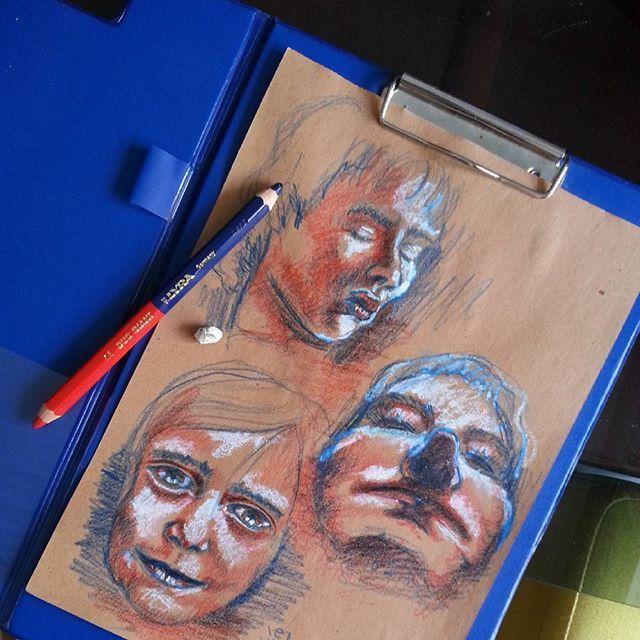 Got this crazy pencil...so i had to try it! #pencil #faces #face #portrait #portraits #red #blue #oilpastels #bold #contrast #artforsale #art #artwork #drawing #sketch #sketching #artstarsmag #contemporary #contemporaryart #modernart