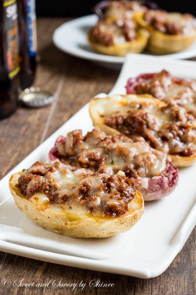 Sloppy Joes Potato Skins---Extra crispy potato skins loaded with sloppy joes and melted cheese. Two all-American classics in one appetizer!
