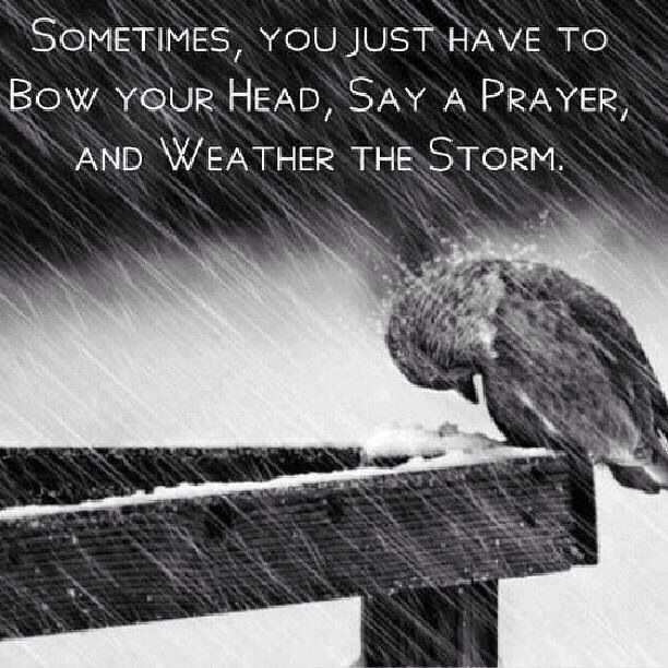 Weather the storms of life with prayer....