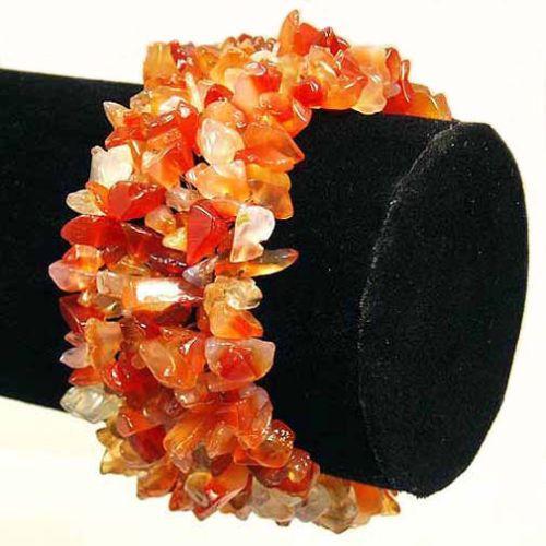 Carnelian Wide Style Chipped Gemstone Bracelet