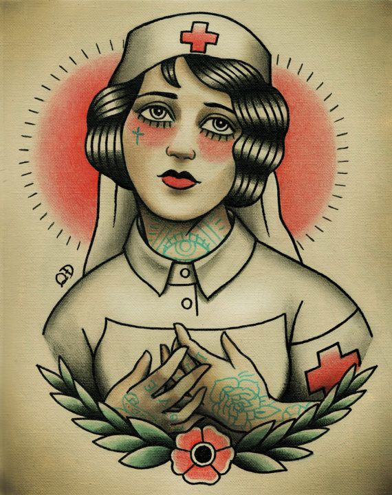Nurse Flapper Traditional Tattoo Flash by ParlorTattooPrints, $18.99