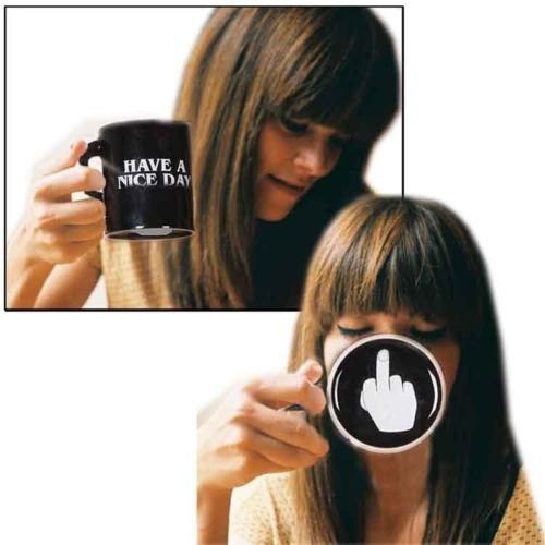 Generic Vansaile Have A Nice Day Coffee Mug Middle Finger Funny Cup for Milk Juice or Tea, Black