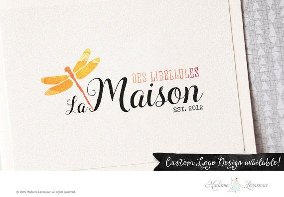 premade logo design watercolor dragonfly logo by MadameLevasseur
