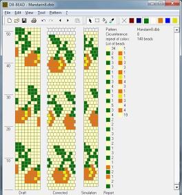 8 around bead crochet rope orange pattern