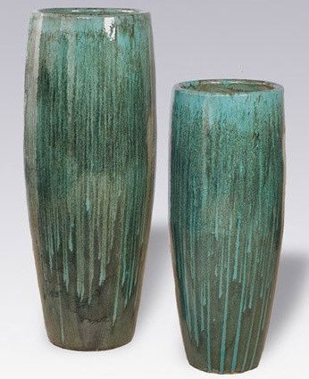 Planters & Fountains - Tall Cylinder Ceramic Planter - Teal